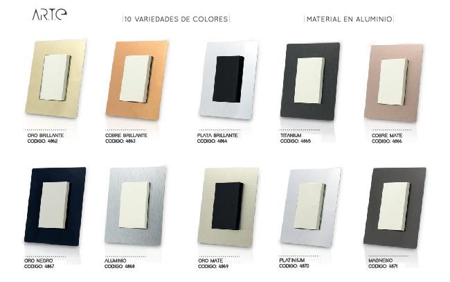 Colores disponibles de la línea ARTE